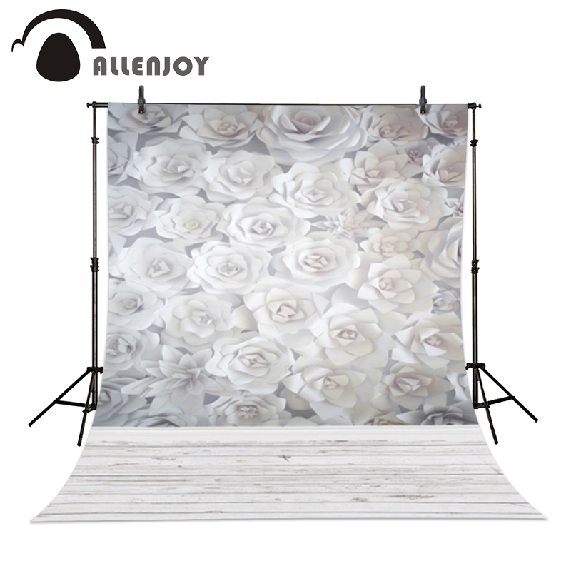 Allenjoy photo background White paper blooming flowers 3D wood baby backgrounds for photo studio new Year new arrival background fundo white color flowers 300cm 200cm about 10ft 6 5ft width backgrounds lk 2546
