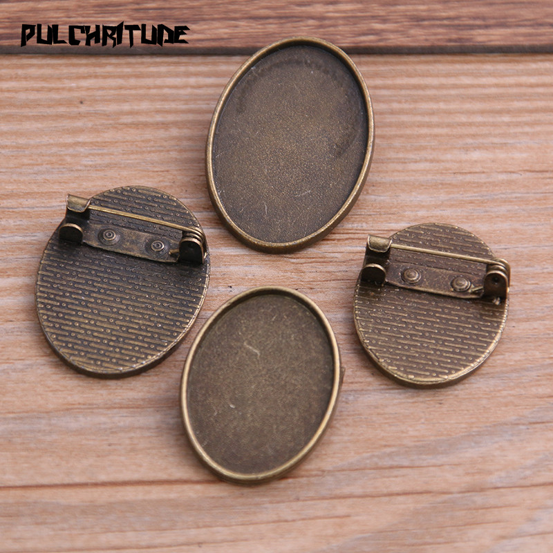 PULCHRITUDE 6pcs 20*30/18*25mm Inner Size Antique Bronze Oval Punk Toothed Brooch Cabochon Base Setting Charms Pendant