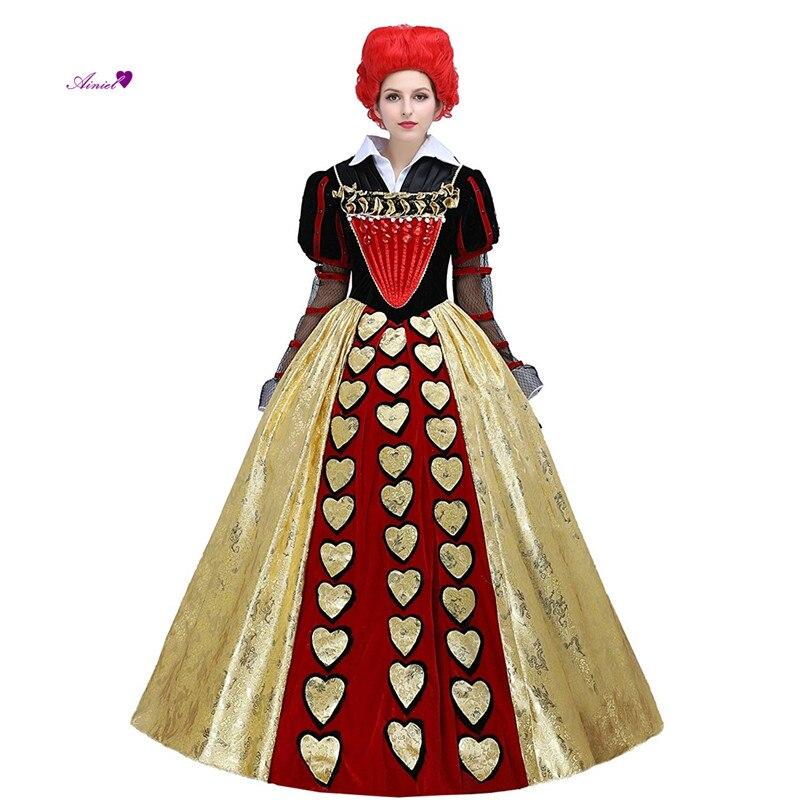 Alice In Wonderland 2 Red Queen Cosplay Costume The Red Queen Cosplay Dress Women's Halloween Court Ball Gown cs386