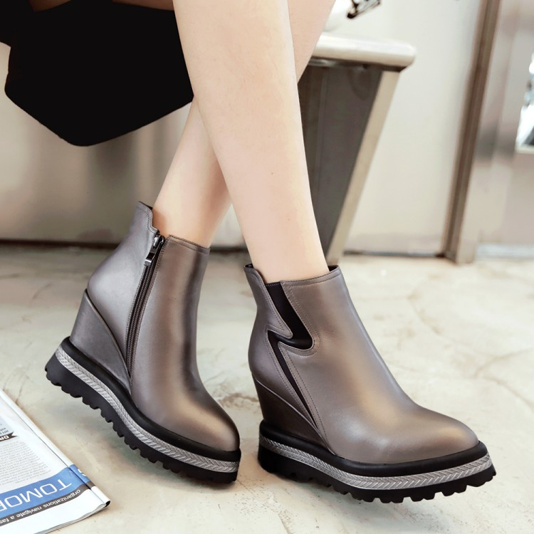 ФОТО The first layer of leather strap side zipper waterproof pointed heels female leather boots slope short spring new