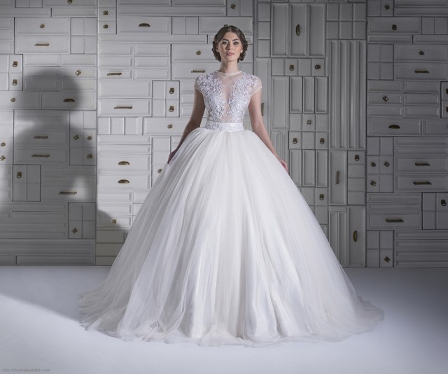 Sexy See Through Bodice Ball Gown Wedding Dresses 2017 Cap Sleeves ...