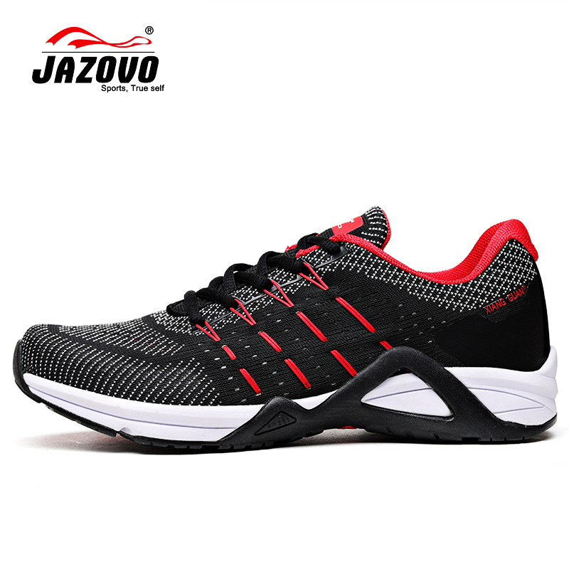 JAZOVO Running Shoes Mesh Breathable Outdoor Sports Black white red Jogging Textile Sneakers For men women Walking Shoes 36-45 2017 new style running shoes man cushioning breathable cool textile sneakers red black men light sports shoes