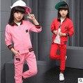 Crianças primavera 2016 novos grandes meninas virgens terno dos esportes do bebê outono dois-peça ocasional longo-manga roupas para meninas 3-12 anos de idade 3
