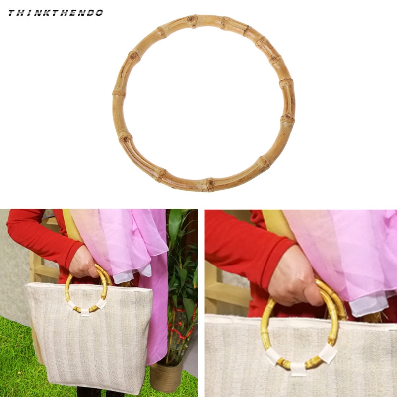THINKTHENDO Fashion New 1 Pc Round Bamboo Bag Handle For Handcrafted Handbag DIY Bags Accessories High Quality