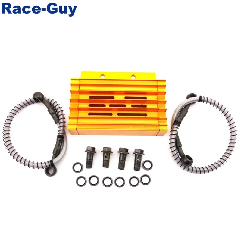 TC-Motor Gold CNC Aluminum Oil Cooler For Chinese Pit Dirt Motor Bike Trail Motorcycle 125cc 140cc 150cc