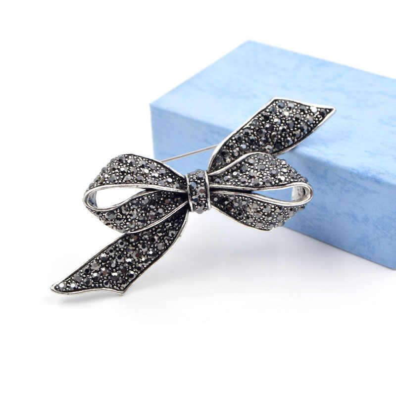 Cindy Xiang Berlian Imitasi Busur Bros untuk Wanita Vintage Hitam Bros Pin Besar Elegan Broches Fashion Perhiasan Berkualitas Tinggi Hadiah