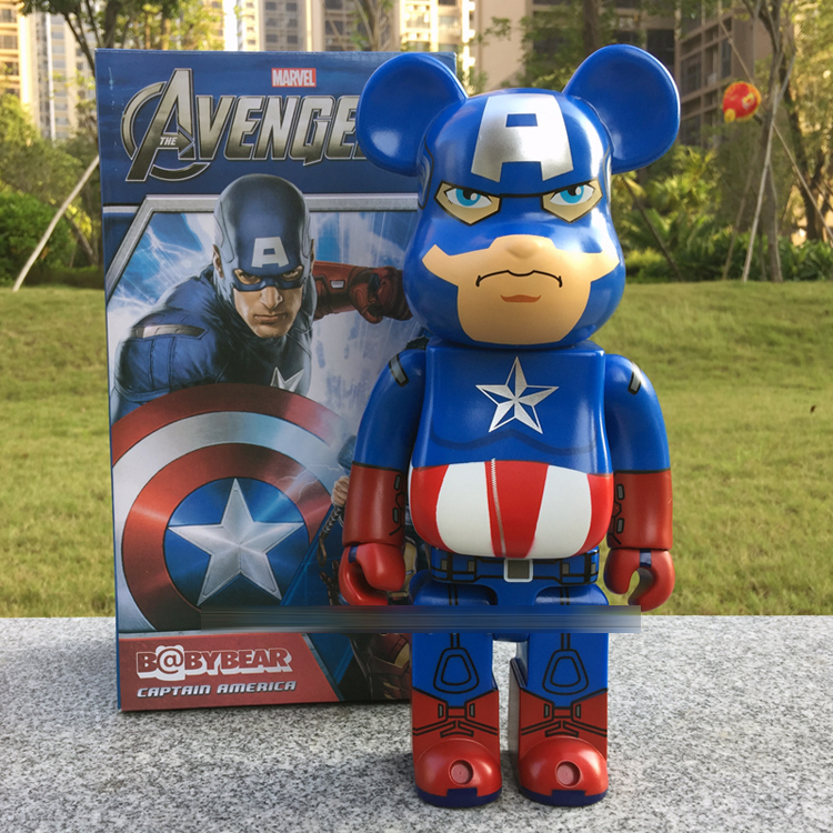 Bearbrick Be@rbrick Captain America 400% 28CM Dolls W/ Original Box цена