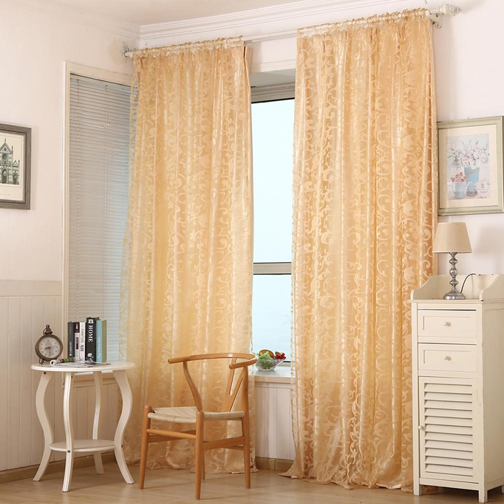 Living Room Bedroom Window Blinds Curtain Floral Printing Transparent Door Tulle Curtain Home Hotel Office Decor Divider Valance in Curtains from Home Garden