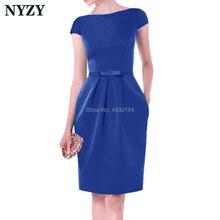 Королевский синий Vestido Robe коктейльные платья nyzy C155C элегантный карман атласное платье для Свадебная вечеринка Встреча выпускников/корпоративы выпускной