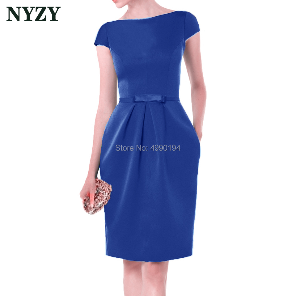 Royal Blue Vestido Robe   Cocktail     Dresses   2019 NYZY C155C Elegant Pocket Satin   Dress   for Wedding Party Homecoming Graduation