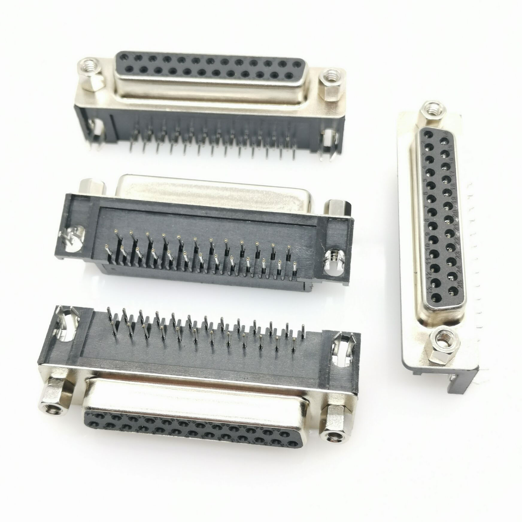 100Pcs <font><b>DB25</b></font> female DR25 male D-sub Right Angle <font><b>PCB</b></font> Mount Double Row Pins Electrical Connector Socket With Screw Nuts image