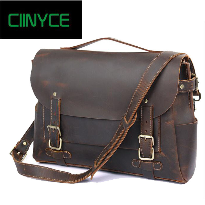 100% Genuine Cowhide Men Crazy Horse Leather Handbags Vintage Cow Skin Business Shoulder Laptop Briefcase Totes Messenger Bag himabm 1 pcs natural jade egg for kegel exercise pelvic floor muscles vaginal exercise yoni egg ben wa ball