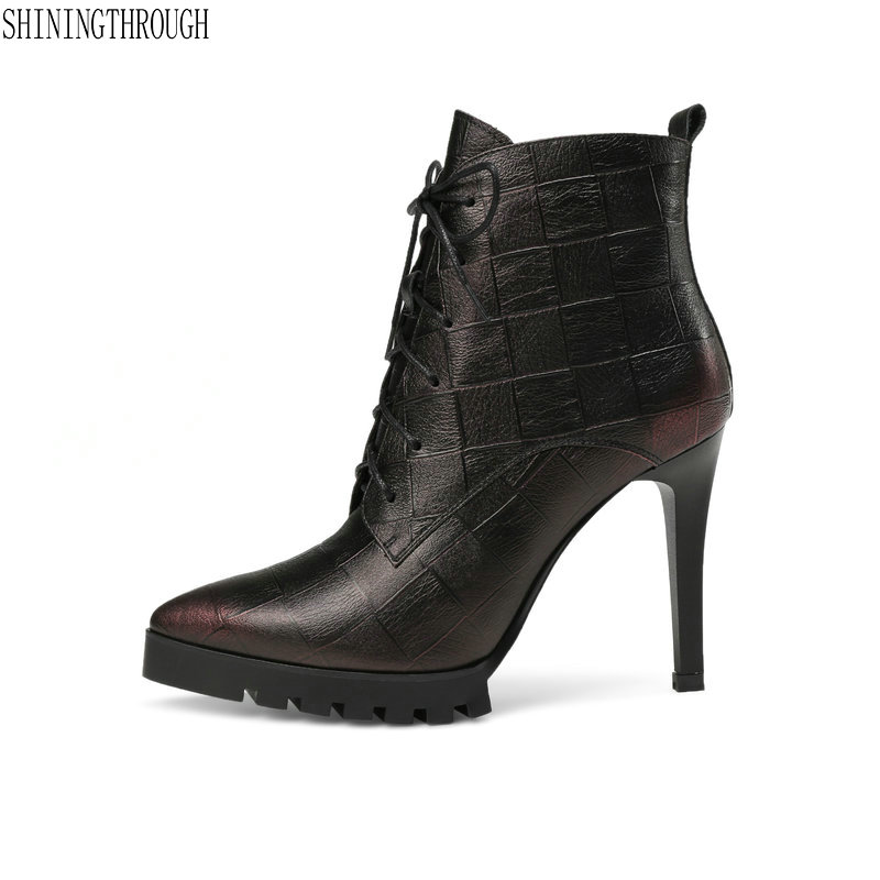Women Boots cow leather high Heels lace up poined toe ankle boots woman spring autumn party dress work shoes woman size 41 42 43 sarairis new big size 35 41 women s cow leather black wide high heel 6cm lace up shoes woman casual autumn winter ankle boots