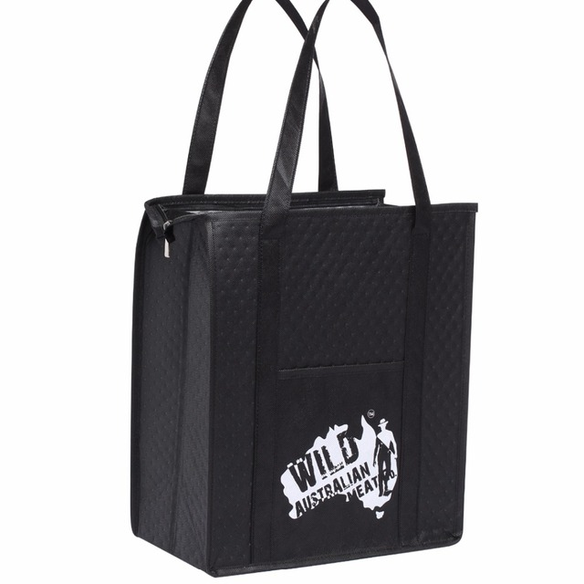 96e8d9e86f9 100pcs wholesale Custom Insulated Reusable Shopping Bag Grocery Tote Bags  for wine food luxury bag