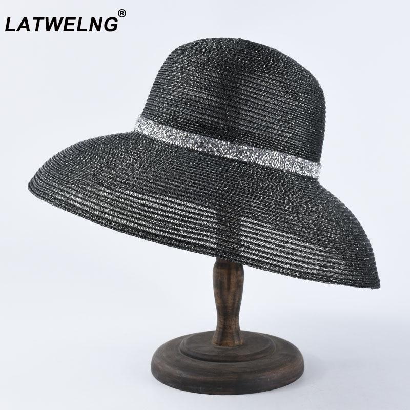 New Hepburn Black And White Beach Hats Women Fashion Wide Brim Straw Hat French Elegant Sun Visor Hat Summer UV Hat Wholesale