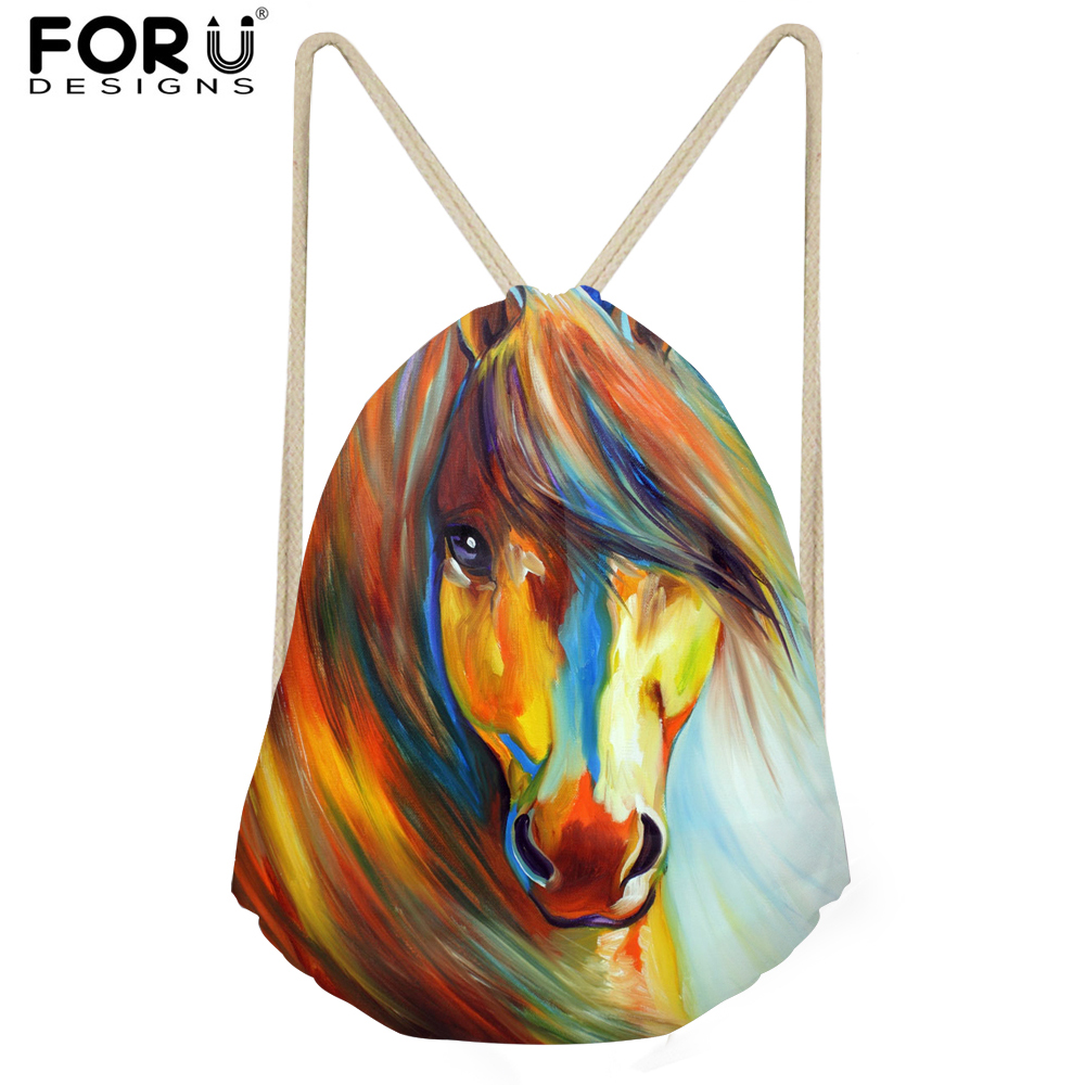 FORUDESIGNS Colorful Animal Horse Prints Men&Women Drawstring Backpack Small Fashion Multifunction Storage Bags Women's Bolsa