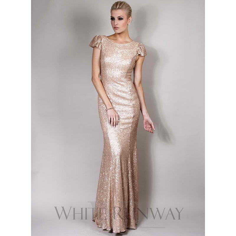 Sparkly Gold Sequined Bridesmaid Dresses Short Sleeve O