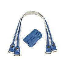 2pcs Leather Bag Handles Leather+ Fabric Shoulder Bag Strap Handbag Belt Durable Handle for Women Handbags Accessories Blue