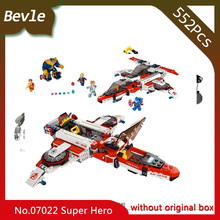 Bevle Store LEPIN 07022 555pcs Super Hero Series Avengers aircraft Space Mission Building Block Bricks For Children Toys 76049