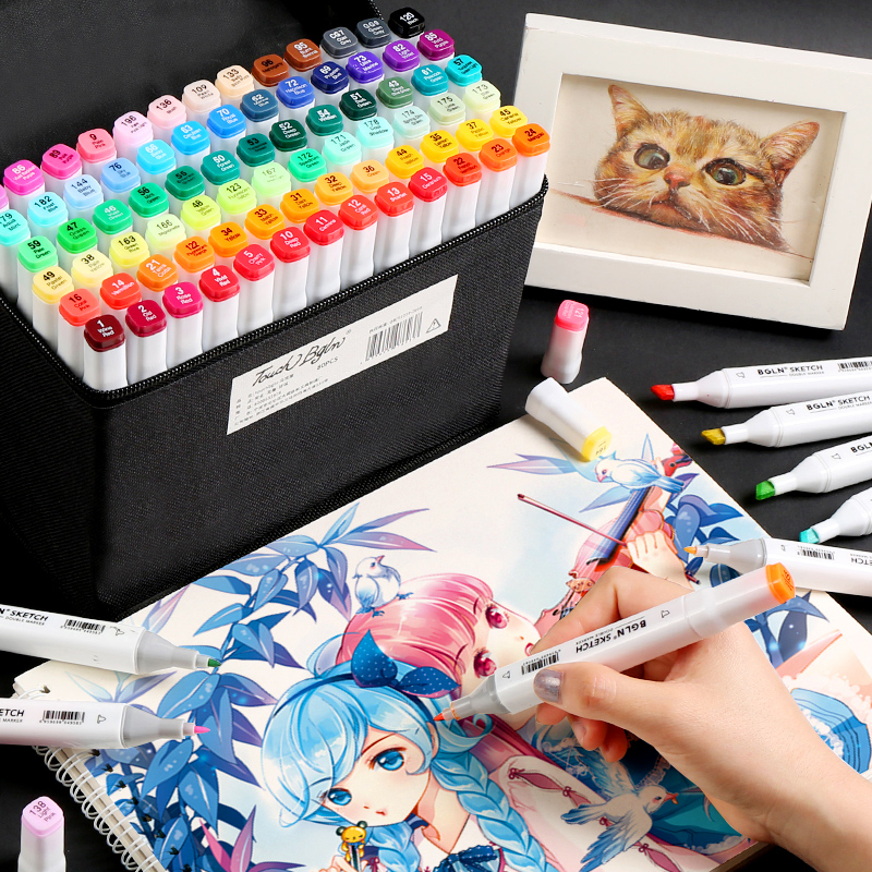 Mark Pen Set Student Anime Painting Markers 30/40/60/80 Color Single Hand-painted Special Double-head Color Marker Art  Supplies