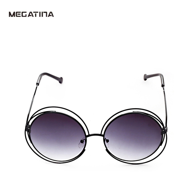 6e9e0662857 Megatina Vintage Big Round Sunglasses Women Brand Design Unisex Metal  Stitching Frame UV400 Hollow Eyeglasses Female