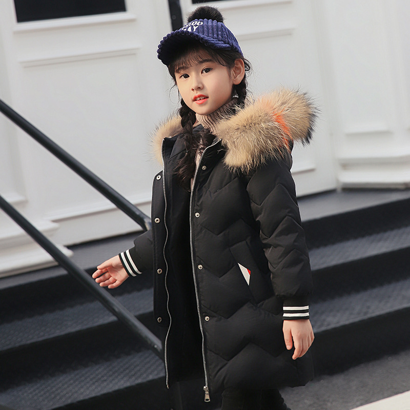 Girls duck down jacket new down jacket winter children thickening hooded natural fur collar coat jacket big clothes silver bread clothes down jacket golden black coat down jacket children short section thickening boys and girls 2018 new models