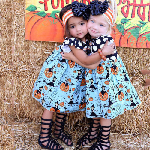 Halloween Clothes Toddler Kids Baby Girls Princess Ruffles Pumpink Dot Dress Party Pageant Festival Formal Dresses Sundresses
