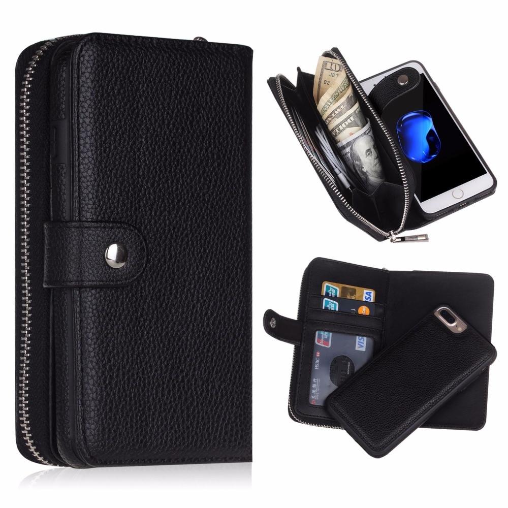 Цена за Магнитная молния PU кожа карты чехол Flip Wallet для iPhone 5S/6 S 7 Plus для Samsung Galaxy S8 плюс S6 Edge Plus S7 край