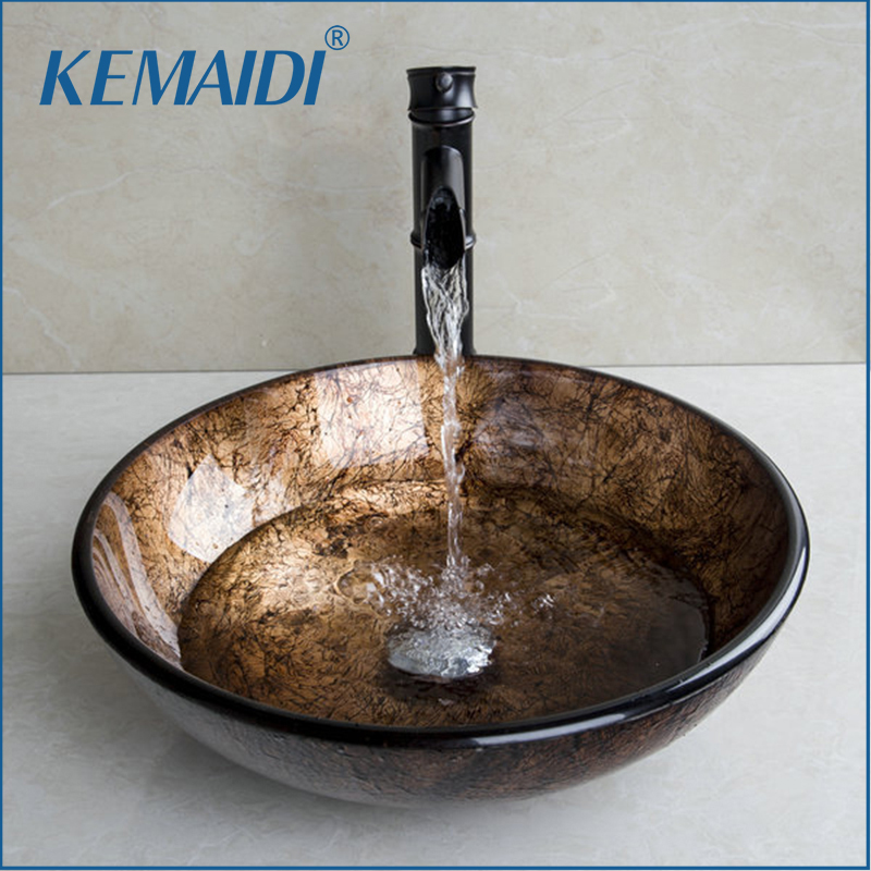 KEMAIDI New Soild Brass Oil Bamboo Black Faucet Ross Brand 2015 Washbasin Lavatory Glass Sink Bath