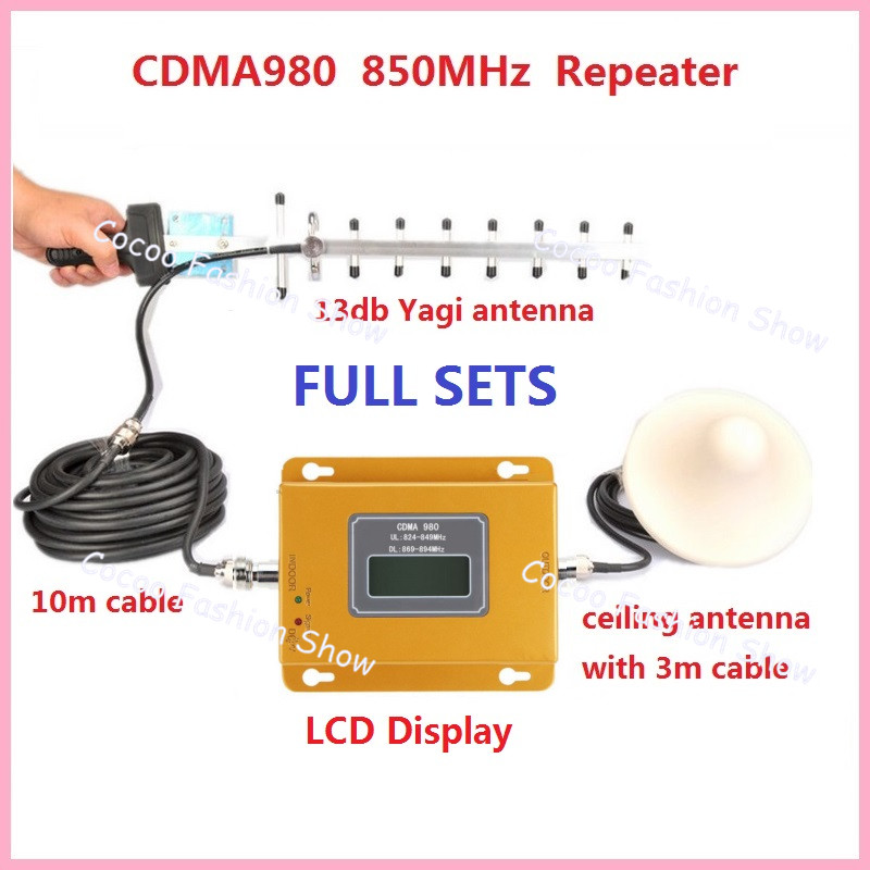 Full Set CDMA GSM 850 Cellular Signal Repeater CDMA 850 mhz Mobile Signal Amplifier 70dB GSM 850 Cell Phone Booster Full Kit