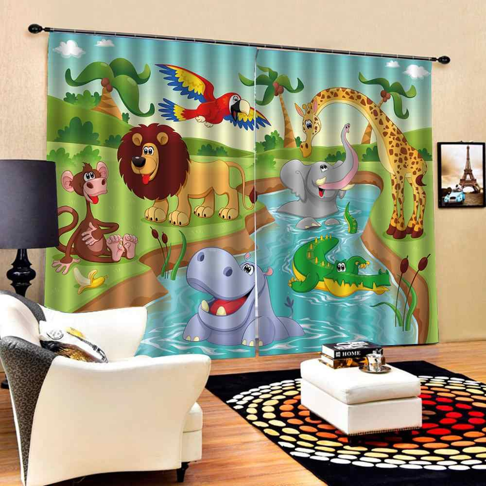 3D Curtain Luxury Blackout Window Curtain Living Room animal park curtains for children room