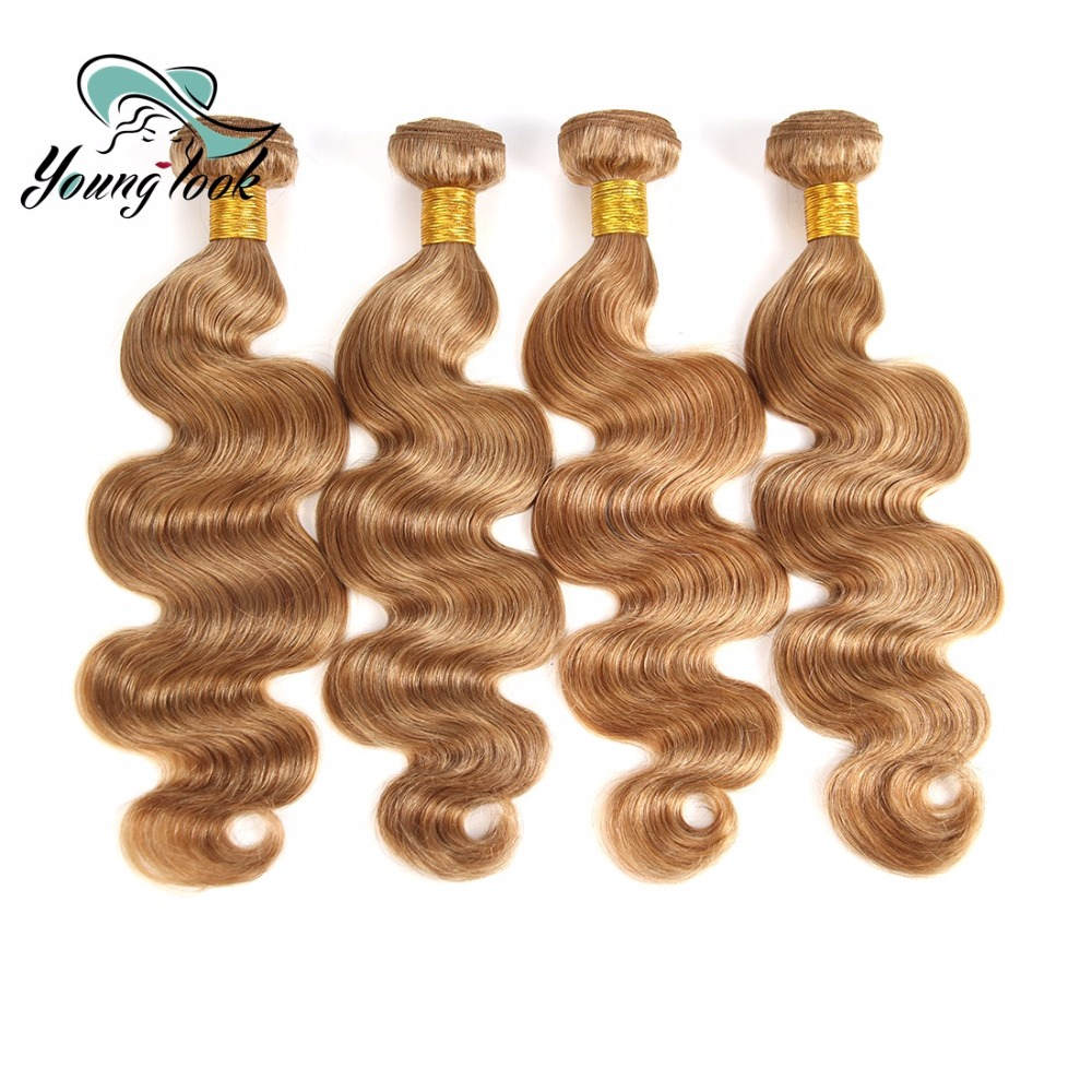 Young Look Peruvian Remy Human Hair Weave Bundle Body Wave 4 Bundle #27 8-26 INCH Peruvian Hair Weave Bundles
