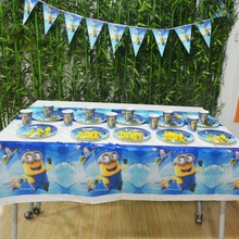 52pcs Minions Party Supplies Plate/Cup/Flags/Tablecloth Minion Birthday Party Decoration Shower Favor Minions Party Supplies Set
