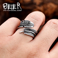 Beier New Arrival Adjustable Feather Ring Stainless Steel VIntage Jewelry For Man Woman BR8-276 US size