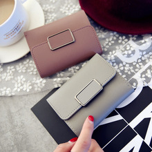 2019 new short tide simple square decoration fashion lychee pattern women wallets  solid color tri-fold student wallet purse