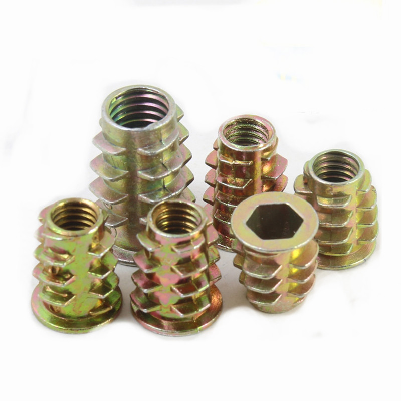 M8 Screw-in Nut Iron Hex Flat Head Threaded for Wood Furniture in 6 Types M813 50PCS