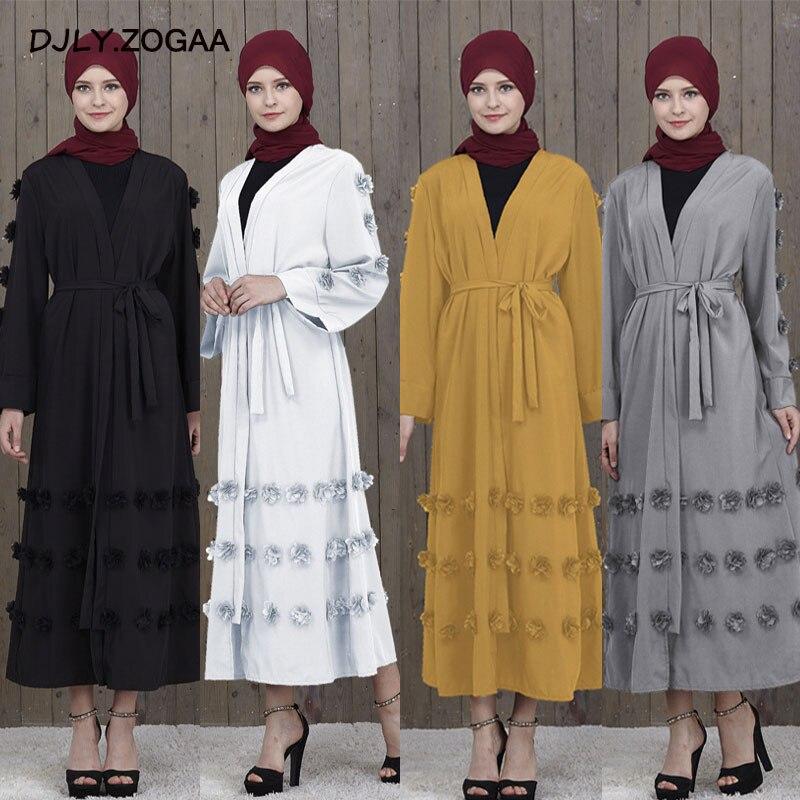 Zogaa New Ramadan Cardigan Fashion Women V-neck Double-breasted Female Muslim Abaya Embroidered Single Layer Impervious Clothing