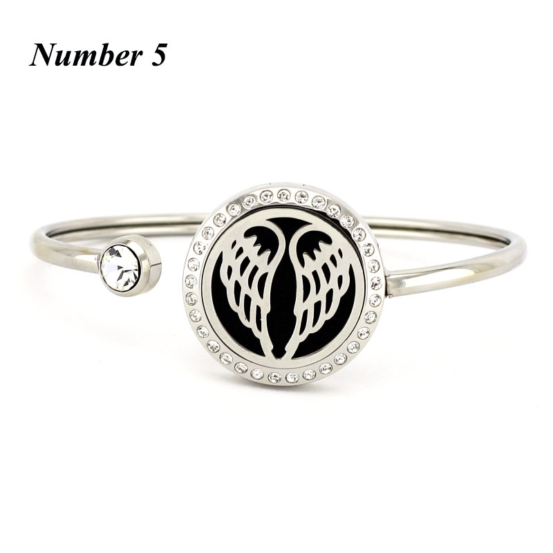 20mm 25mm essential oil diffuser bracelet for women 316l stainless steel perfume bangle aromatherapy bracelet with crystals