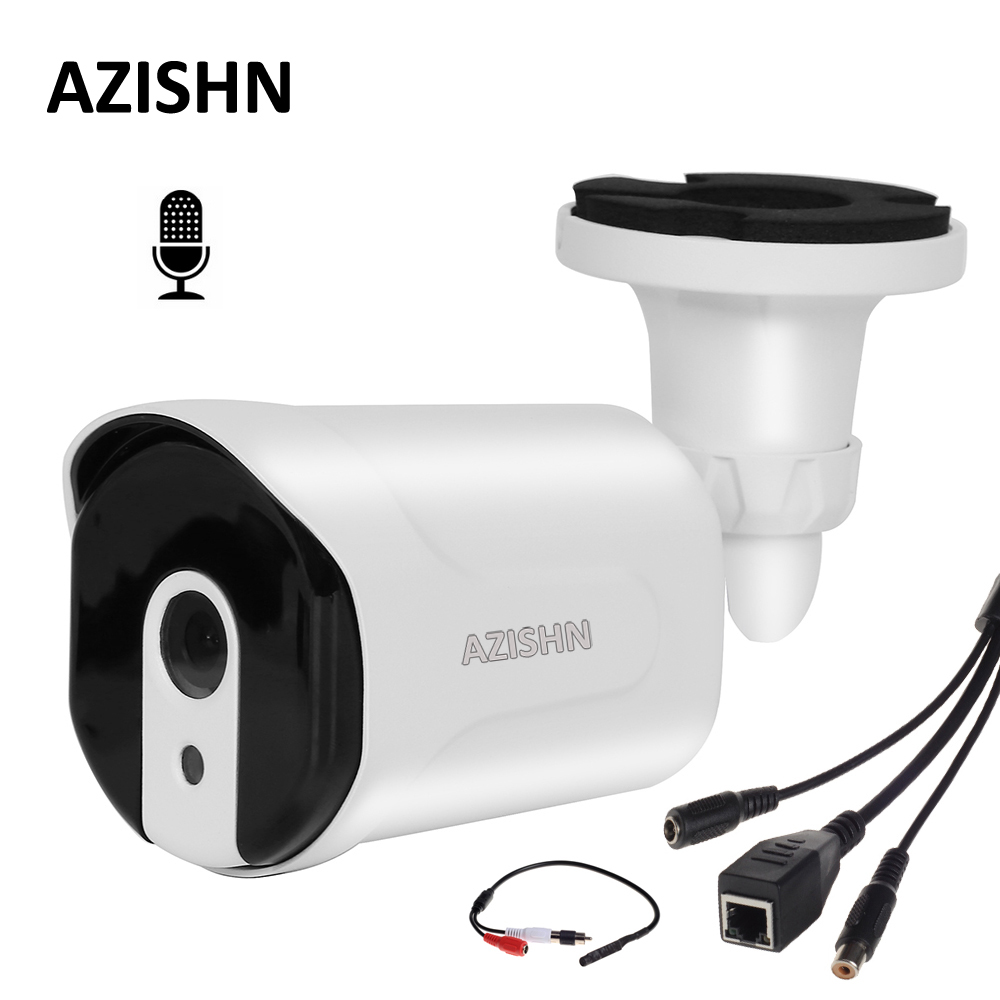 AZISHN ONVIF Wired Audio IP Camera 720P/960P/1080P H.264 Network P2P 6pcs array LED Audio Pickup metal IP66 security CCTV Camera gadinan ip camera poe onvif 1080p 2mp 960p 720p h 265 h 264 wired home network video outdoor bullet wide angle security rtsp