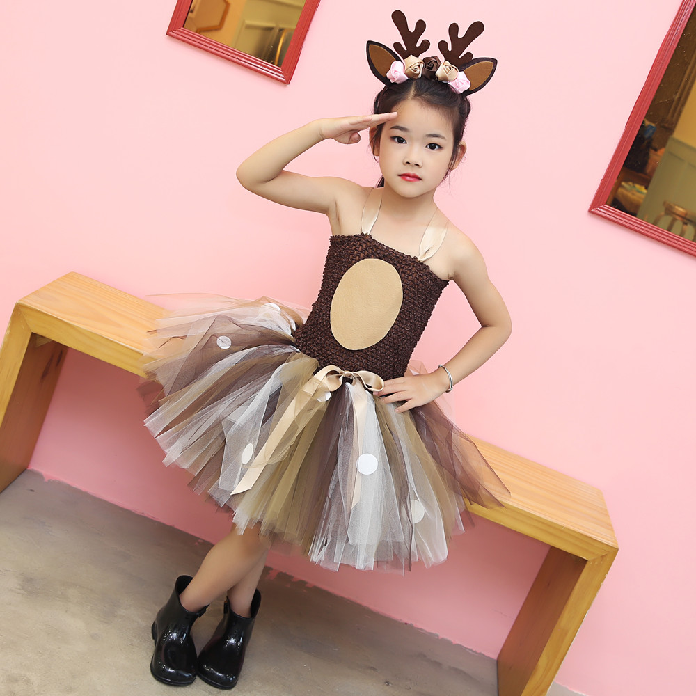Girls Reindeer Dress Up Costumes Children O neck Pattern Solid Dress Christmas Birthday Party Kids Dresses for Girls Ball Gown in Dresses from Mother Kids