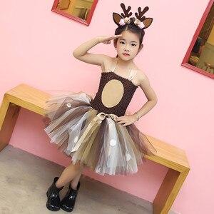 Image 4 - หญิงReindeerเครื่องแต่งกายเด็กO Neck SOLIDชุดวันเกิดคริสต์มาสชุดเด็กสำหรับสาวบอลชุด