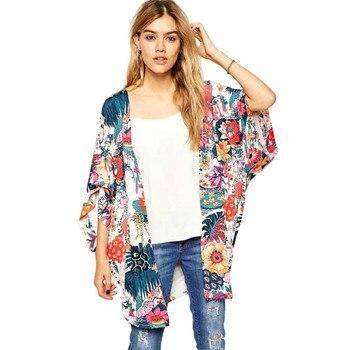 Women Wrap Floral Print Bat Sleeve Kimono Long Chiffon Wrap
