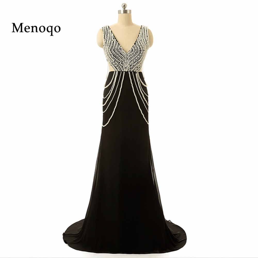 Vestidos de Fiesta Real Sample Sexy V neck Beaded Pearls Chiffon Black   Prom     Dresses   Real Photo Long Formal gowns 2018