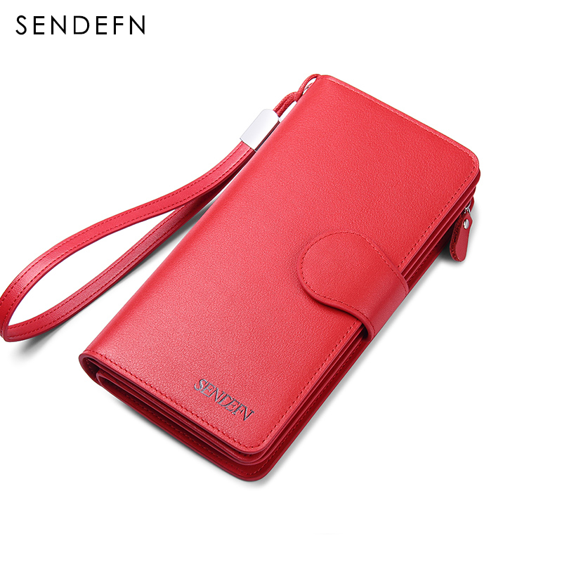 Sendefn New Purse Female Original Leather Large Capacity Long Wallet-Female Genuine Leather Women's Purse Fashion Lady Clutch