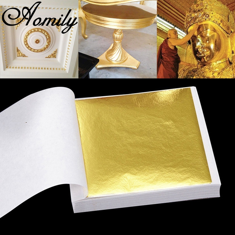 Aomily 9x9cm 100 Sheets Practical K Pure Shiny Gold Leaf For Gilding Funiture Lines Wall Crafts Handicrafts Gilding Decoration