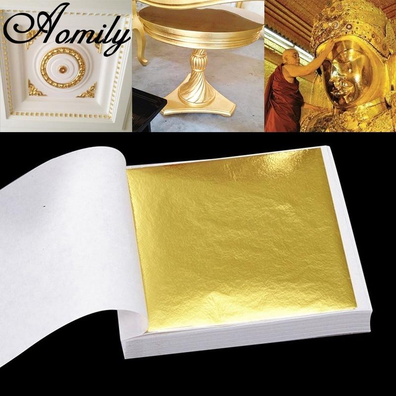 AOMILY – Feuille d'or pratique pour fabrication artisanale en dorure, accessoire brillant pour décoration de mur, de meuble, pure feuille d'or très pratique, lignes 9x9 cm, lot de 100