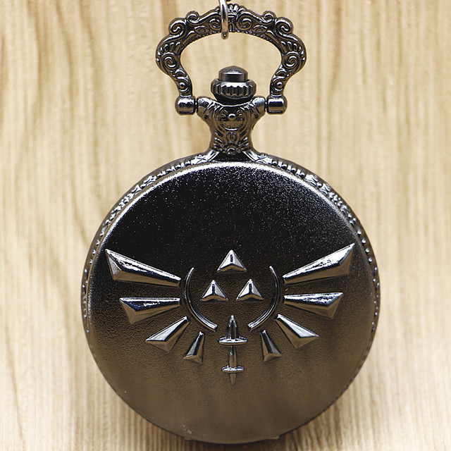 Bronze/Black The Legend of Zelda Game Quartz Pocket Watch Analog Pendant Necklac