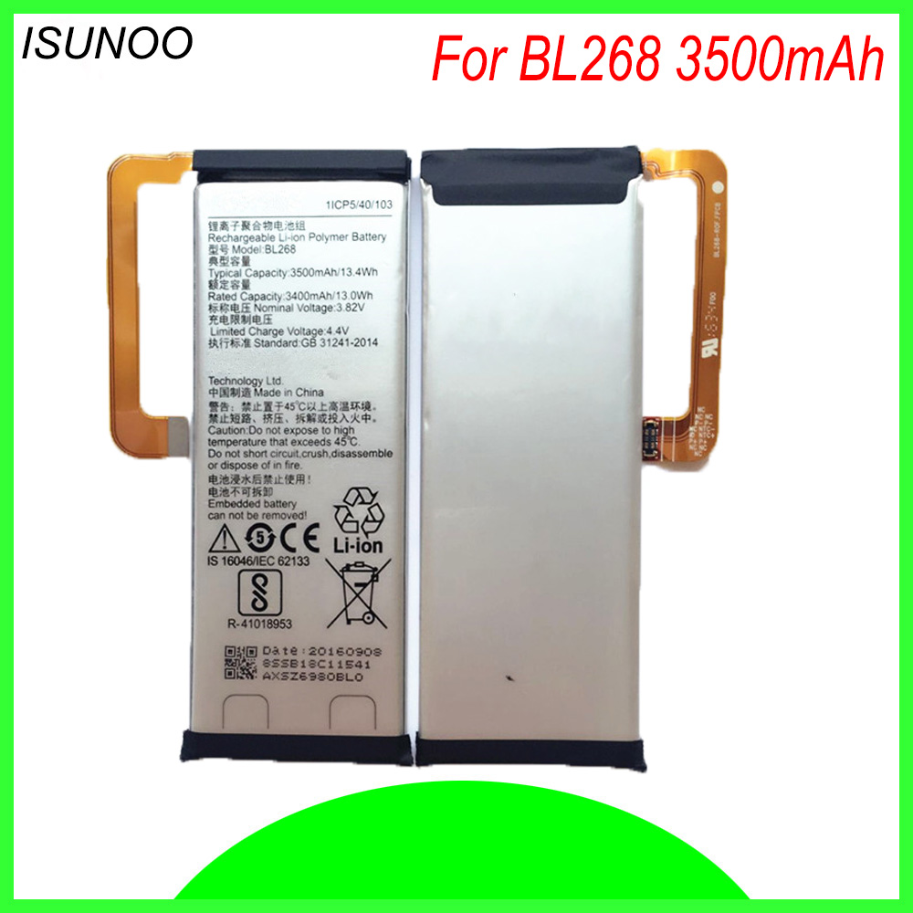 ISUNOO Original Replacement Battery BL268 BL 268 BL-268 3500mAh For lenovo ZUK Z2 Smart Mobile Phone Battery with repair tools image