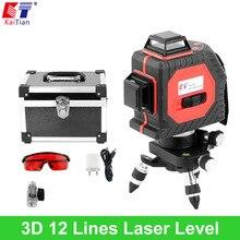 KaiTian 3D Laser Niveau avec Slash Fonction et 360 Rotatif auto Nivellement/Extérieure 650nm Faisceau Laser Croix Ligne Niveau L'UE Lazer niveau