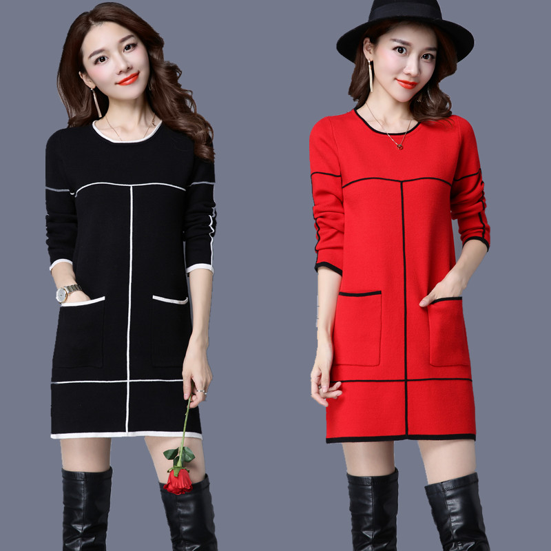 New 2018 Autumn Winter Pullover Sweater Dress Female Long Sleeve O-neck Cashmere Patchwork Dress with Pockets Bottoming Shirt